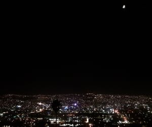 city lights, lights, and moon image