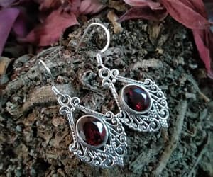 sterling silver, january birthstone, and garnet earring image