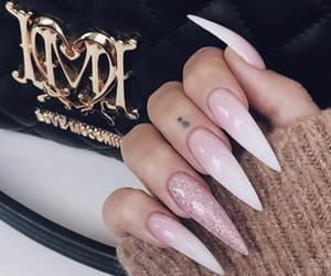 long nails, pink and white, and girly inspo image
