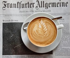 coffee, newspaper, and drink image