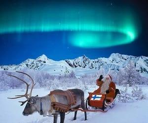 christmas, northern lights, and lapland image
