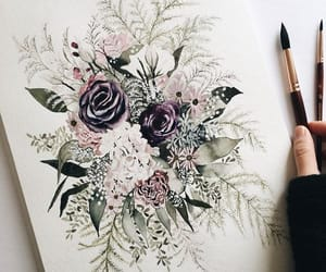 art, floral, and green image