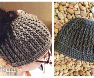 crochet, messy bun, and hat image