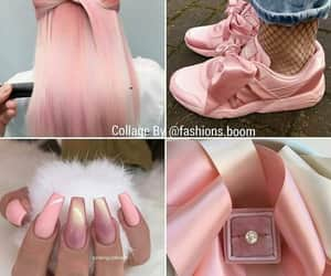 nails, sneakers, and pink color image