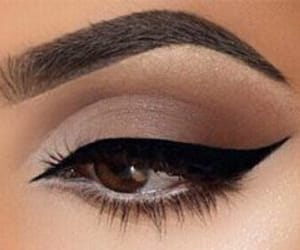brown eyes, lashes, and black liner image