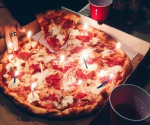 birthday, cake, and pizza image