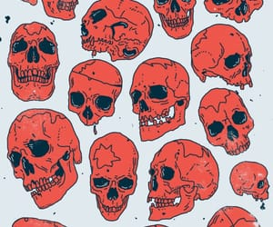 skull, art, and red image