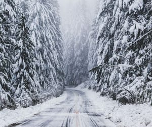 winter, snow, and road image