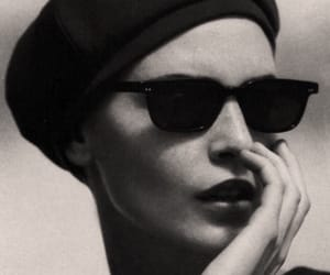 beret, black and white, and fashion image