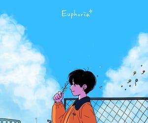 animated, orange, and blue image
