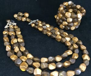 beaded necklace, lucite beads, and vintage jewelry set image