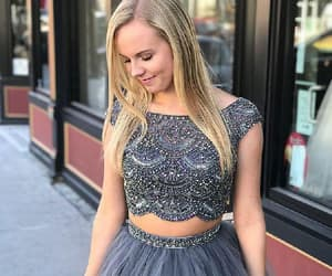 two pieces evening dress, prom dresses backless, and evening dress a-line image
