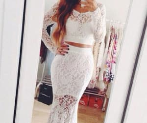 white prom dresses, mermaid evening dress, and lace white prom dresses image