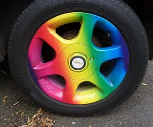 car, rainbow, and wheel image