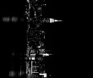 black and white, lights, and new york image