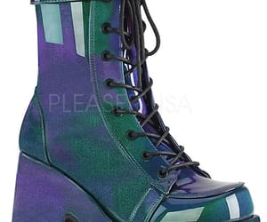 demonia shoes, camel-250, and purple-green patent image
