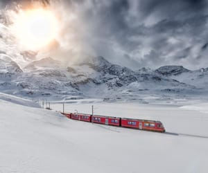 france, snow, and trains image