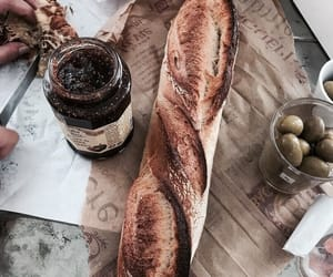 food, bread, and olives image