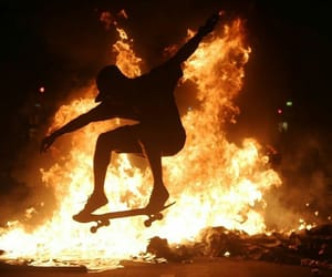 fire, grunge, and skateboard image