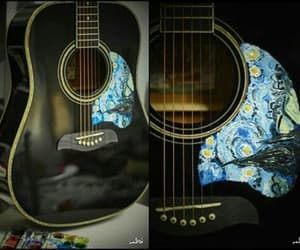 guitar, painting, and starry night image