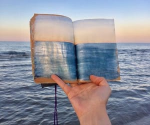art, blue, and book image