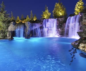 water, waterfall, and pool image