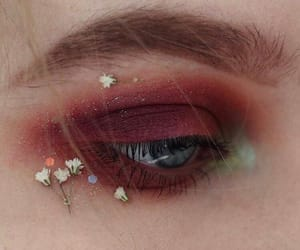 flowers, red, and makeup image