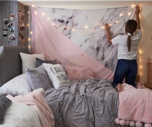 bed, bedroom, and gray image