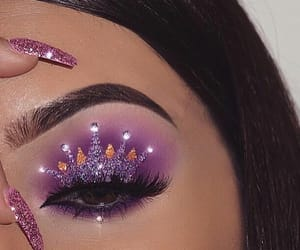 makeup, purple, and crown image