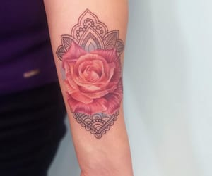 arm, flowers, and rose image