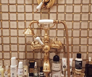 gold, bathroom, and bath image
