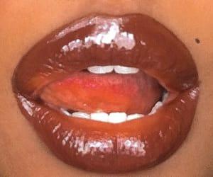 brown, gloss, and lips image