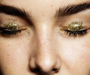 gold, glitter, and makeup image