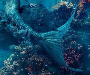 mermaid, blue, and ocean image