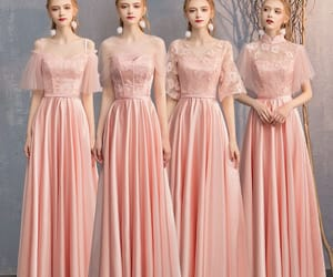 girl, satin dress, and pearl pink dress image