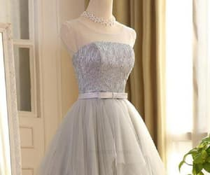 cute prom dress, silver prom dress, and a-line prom dress image