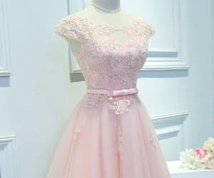 lace prom dress, prom dress pink, and a-line homecoming dress image