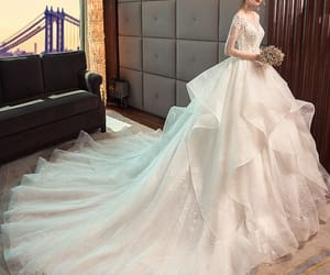 ball gown, short sleeve, and cathedral train image