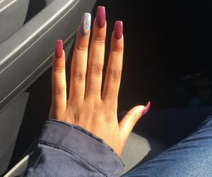burgundy, baddest, and cute nails image