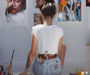 art, girl, and painting image