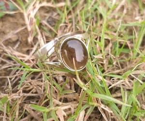 healing crystal, sterling silver ring, and oval ring image