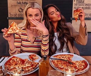 girl, friends, and pizza image