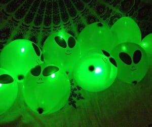 alien, green, and balloons image