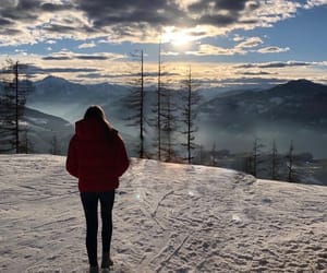 snow, winter, and sonnenuntergang image