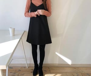 black dress, fashion, and turtleneck image