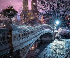 Central Park, photography, and snow image