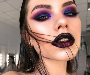 burgundy, make-up, and earrings image