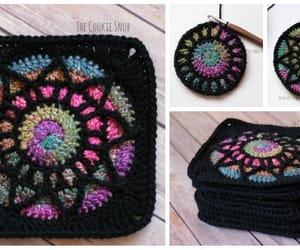 crochet, granny square, and stained glass image