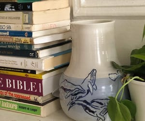 books, interior, and plants image