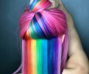 beauty, hair, and rainbowhair image